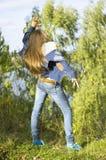 Nice teenage girl dancing Royalty Free Stock Image