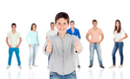 Nice teenager boy saying Ok with their classmates Stock Photos