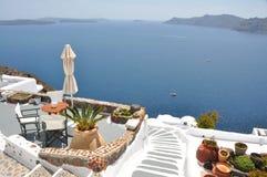 Nice terrace on greek island Santorini Royalty Free Stock Photo