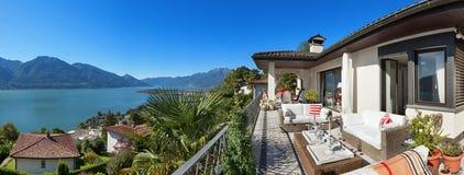 Nice terrace of a villa Stock Photos