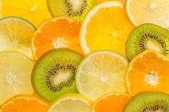 Nice texture made of fruit slices. Kiwi orange lemon and lime Royalty Free Stock Photography