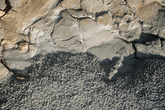 Nice texture from Mud Volcanoes, Romania. Mud texture earth eruption. Dried grey mud texture with crack stock photos