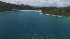 Nice Thailand coast and green trees, from a copter. Grandiose Phuket coast & relaxing holiday, from a helicopter stock video footage