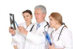Nice three doctors  with xray Royalty Free Stock Images