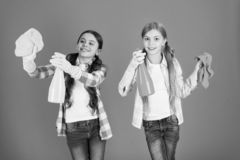Nice and tidy. Girls with mist spray and rag ready for cleaning. Household duties. Little helper. Girls cute kids love. Cleaning around. Keep it clean. We are royalty free stock image