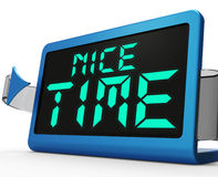 Nice Time Clock Means Enjoyable And Pleasant Experience Royalty Free Stock Photography
