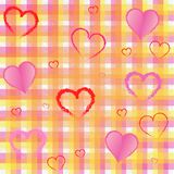 Nice tissue square and hearts background Royalty Free Stock Image