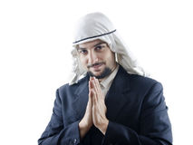 Nice to meet you. Conceptual image of an arab man (customs, protocol, business Royalty Free Stock Photos
