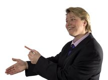 Nice to meet you!. Businesswoman giving a blank business card and wants to shake hands stock photos