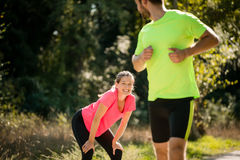 Nice to meet you - running in park Royalty Free Stock Photos