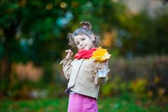 Nice toddler girl with yellow leaves bouquet. Small girl outdoor in the park with yellow leaves Stock Image