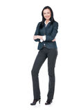 With nice toothy smile. Business woman standing on white isolated Stock Images
