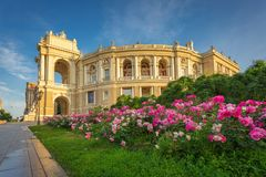 Odessa National Academic Theatre of Opera and Ballet vibrant exterior view in warm morning sun royalty free stock image