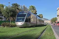 Nice - Tram on the grass Royalty Free Stock Images
