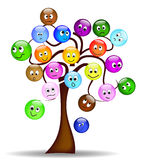 Nice tree with colorful smilies with different exp Royalty Free Stock Photos