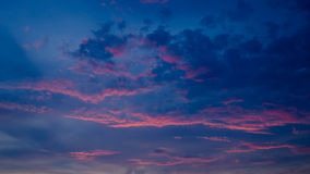 Nice twilight sky with sunset light on clouds Royalty Free Stock Image