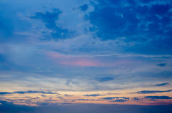 Nice twilight sky with sunset light on clouds Royalty Free Stock Images