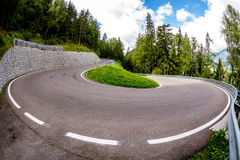 Nice twisty road in the Jaufenpass (Passo Giovo), Italy Stock Images