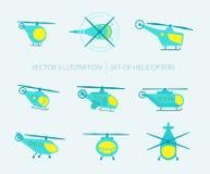 Nice uppsättning av helikoptrar för din design Fotografering för Bildbyråer