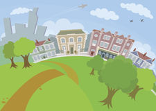 Nice urban scene with park and houses Royalty Free Stock Photography