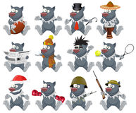 Nice vector cartoon wolfs set. In different variations isolated on white vector illustration