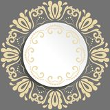 Nice Vector Greeting Card. Round vector shape with golden floral elements and arabesques. Pattern with arabesques. Fine greeting card Royalty Free Stock Photos