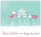 Nice vector Happy New year card illustration Stock Image