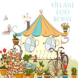 Nice vector illustration with little village house and garden ab Stock Photos