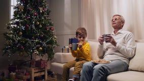 Nice verouderde mens het drinken thee met zijn kleinzoon stock video