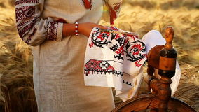 Nice video of ethnic traditions , she embroiders the ornament stock video