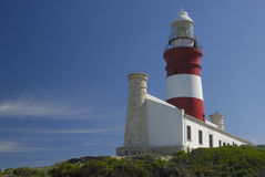 Nice view of Agulhas Lighthouse. Agulhas Lighthouse is at the southernmost point of Africa stock images