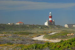 Nice view of Agulhas Lighthouse. Agulhas Lighthouse is at the southernmost point of Africa royalty free stock photo