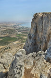 Nice view from Arbel mountain. In Israel Royalty Free Stock Photo