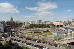 Nice view of the area of Europe at Kiev railway station. MOSCOW - MAY 24: Nice view of the area of Europe at the Kiev railway station, river and the bridge of Stock Image