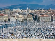 View of the bay with the marina in summer in Marseilles royalty free stock photo