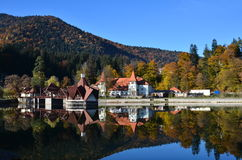 Nice view of a beautiful lake house in autumn Royalty Free Stock Image