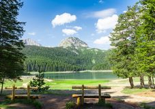 Nice view of blue lake and mountains Stock Images