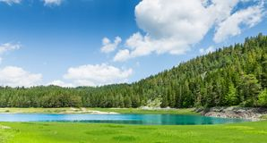 Nice view of blue lake and mountains Stock Photo