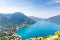 Nice view of blue sea and mountains Stock Photography