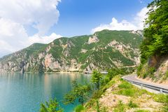 Nice view of blue sea and mountains Royalty Free Stock Image