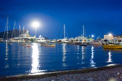 Nice view of blue sea with yacht Royalty Free Stock Photography