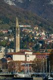 View of lecco. A nice view of The Cathedtral of Lecco city from Malgrate, On the Lake of Como. November 2017. The main church Stock Images
