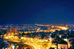Nice view city light at night Stock Photo