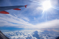 Nice view of cloud and sky from airplane window Royalty Free Stock Photos