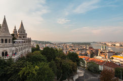 Nice view of Danube and city of Budapest Hungary from Fishermans bastion Royalty Free Stock Photo