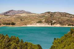 Nice view El Chorro Lake with turquoise green water Royalty Free Stock Photos