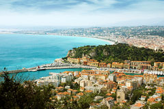 Nice - view from Fort du Mont Alban Royalty Free Stock Photos