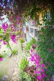 Nice view of the garden from balcony in a cozy Royalty Free Stock Images