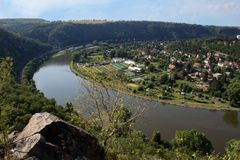 Nice view from hill Rivnac to Vltava meander with small birch tr stock photos