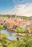 Nice view of the historic center of Cesky Krumlov, Czech Republic. On a sunny day Stock Images